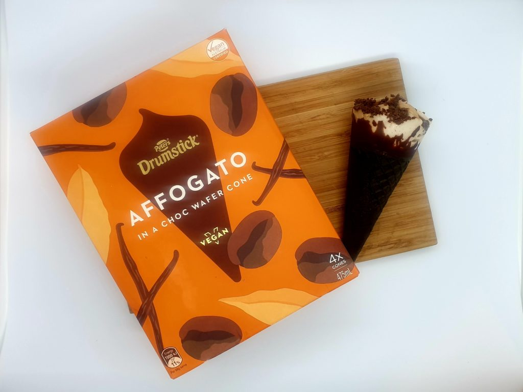 Drumstick affogato ice cream box and out of box on board