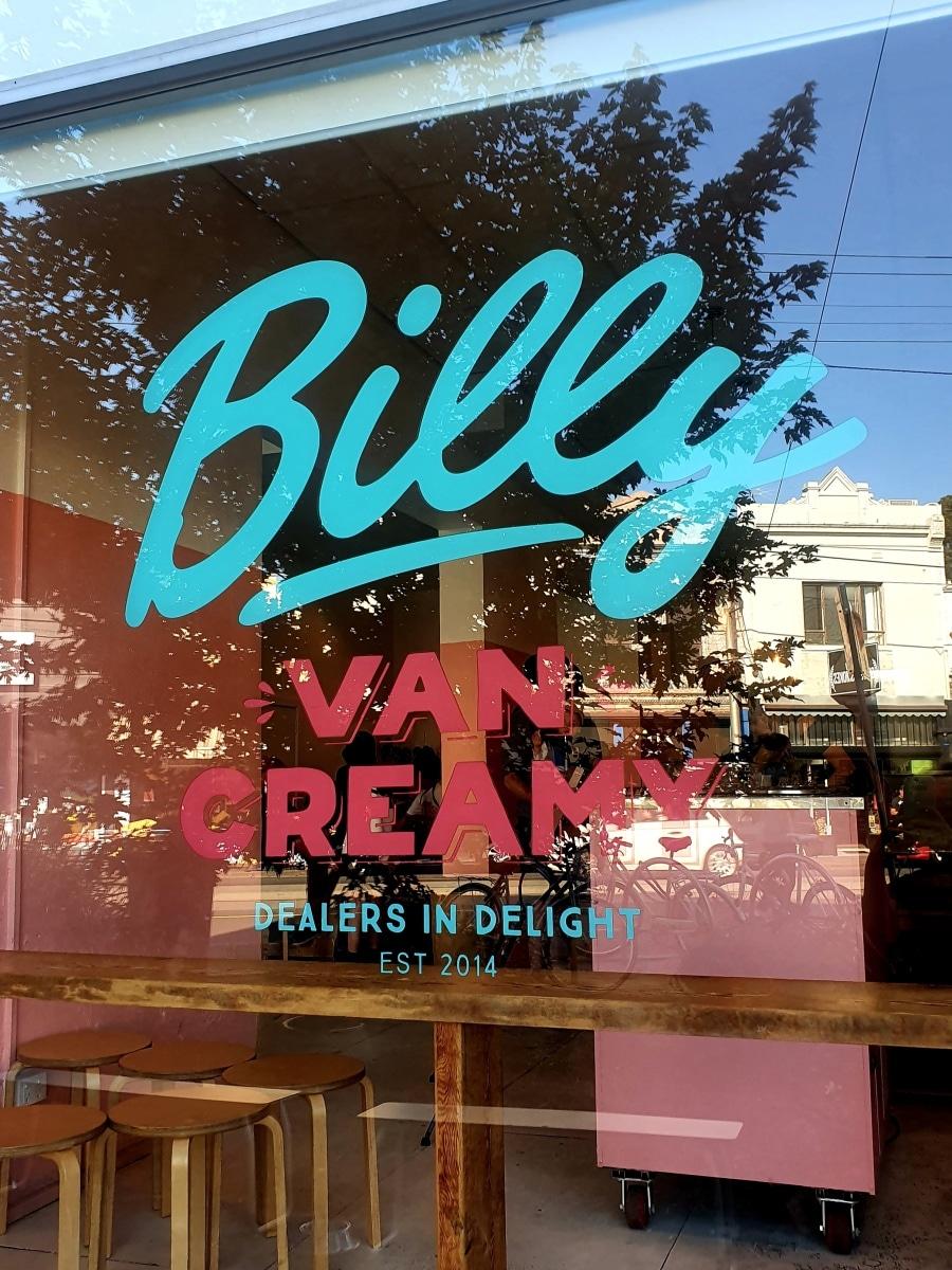 Billy van Creamy window sign