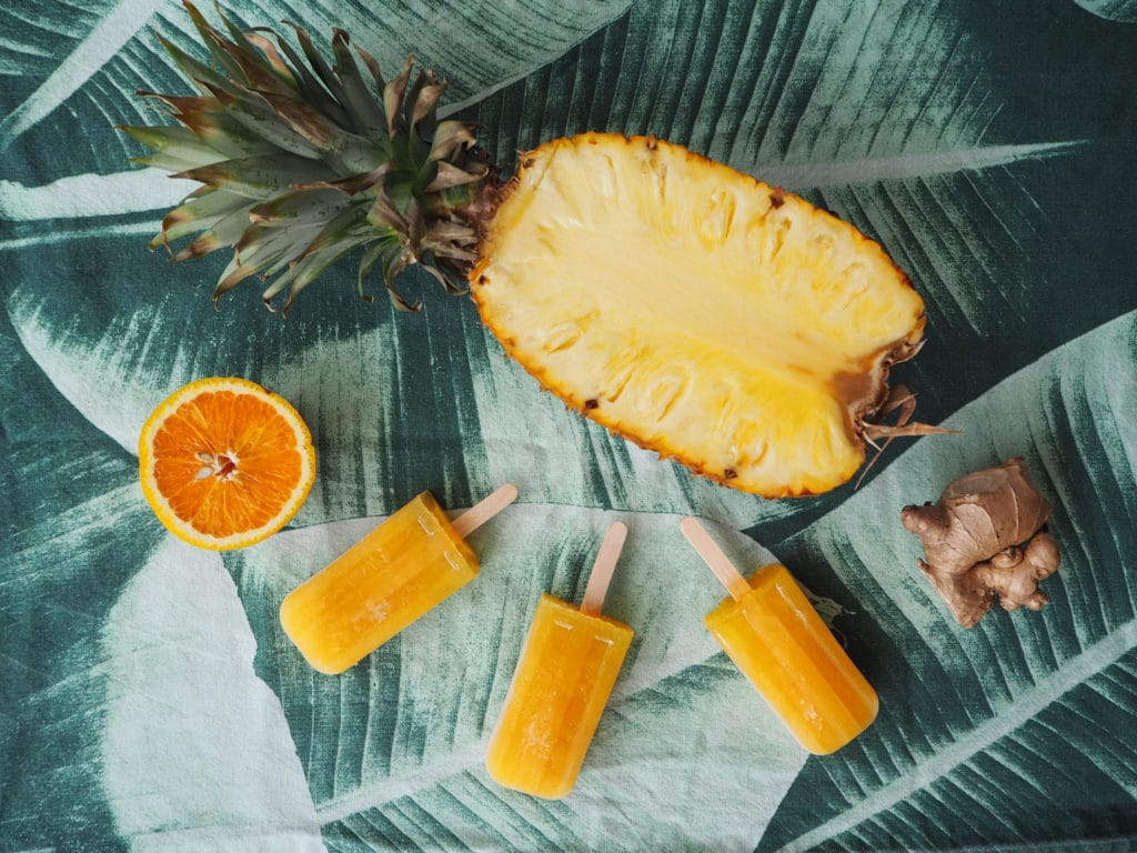 Pineapple, orange and ginger popsicles