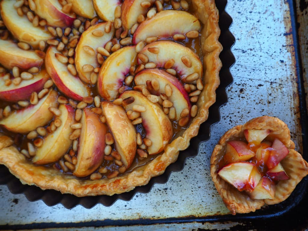 Close up large and small tarts