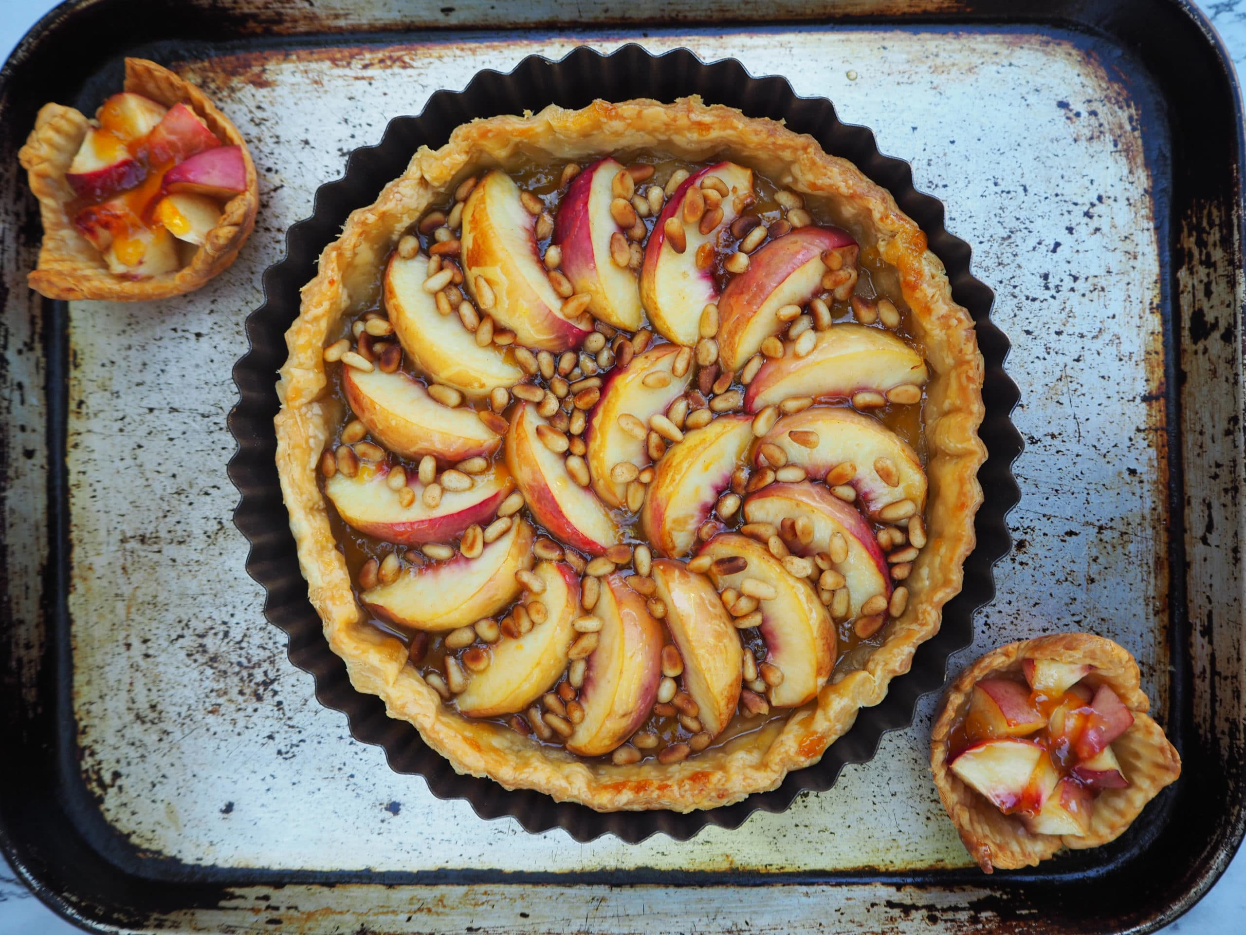 Large and small nectarine tarts