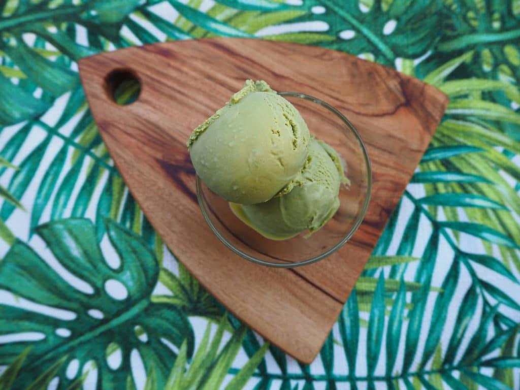 Matcha ice cream on board