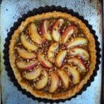 Nectarine tart on tray