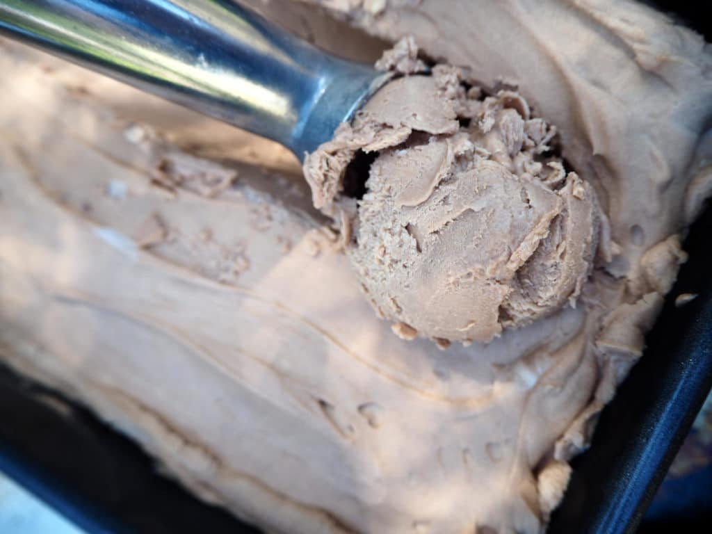 Scoop of no churn Nutella ice cream