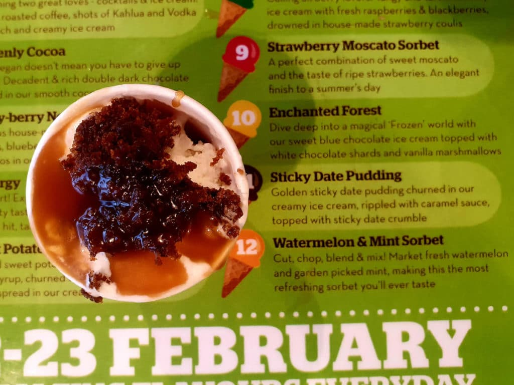 Sticky date pudding ice cream