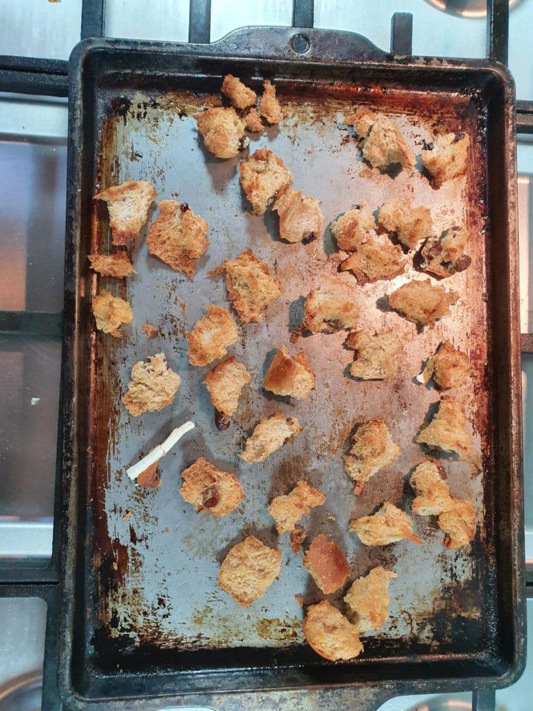 Baked hot cross bun pieces