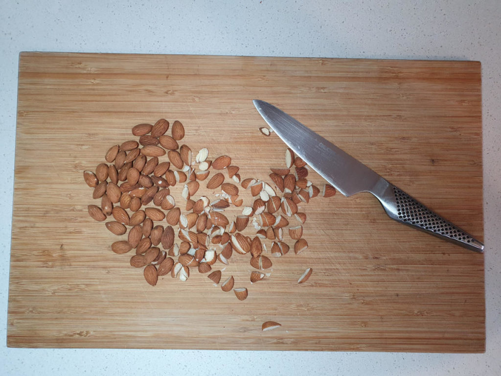 Chopping almonds
