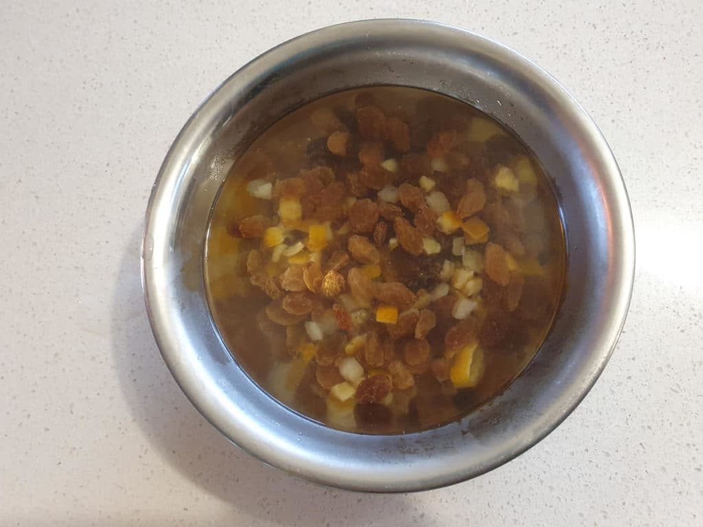 Fruit mix rehydrating in hot water