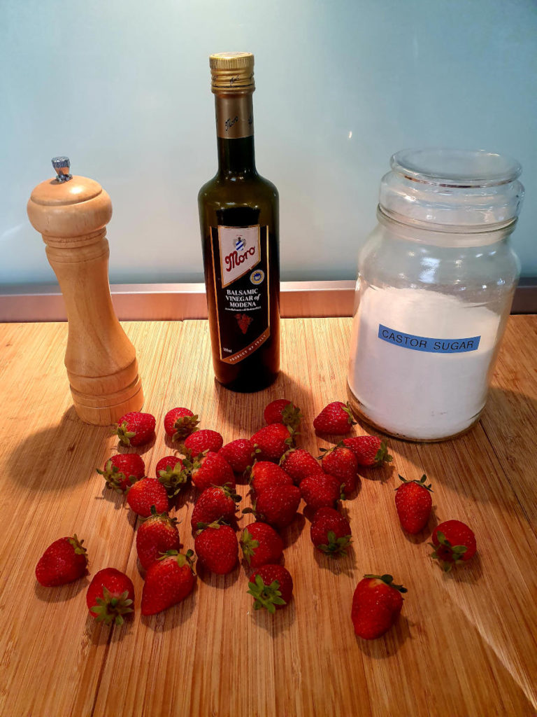 Strawberry balsamic black pepper popsicle ingredients