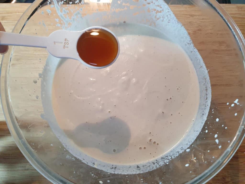 Adding vanilla to cashew mix