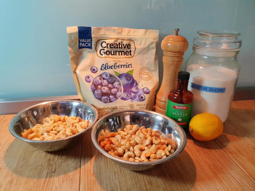 Blueberry cashew ingredients