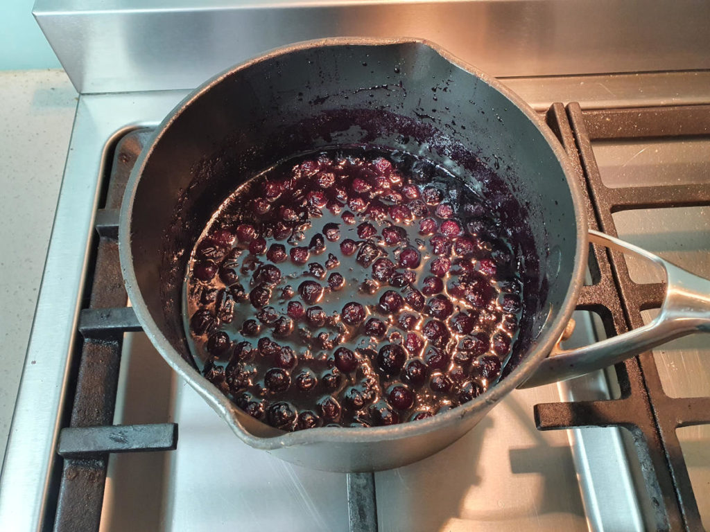 Jammy blueberries ready to cool