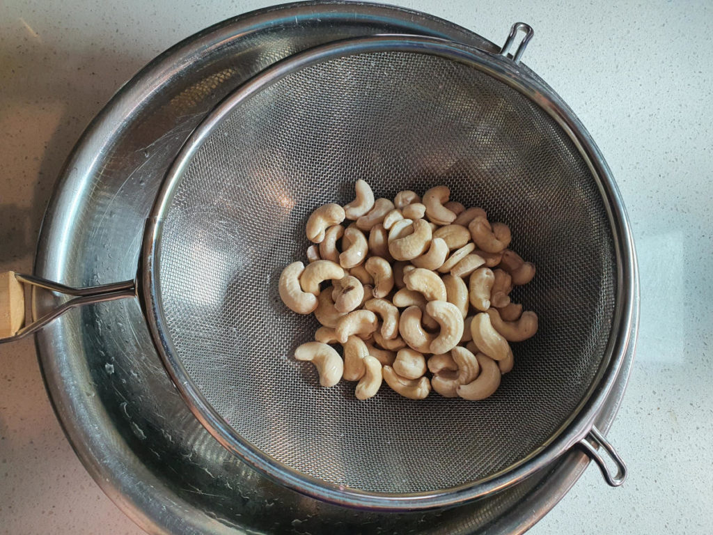 Straining cashews