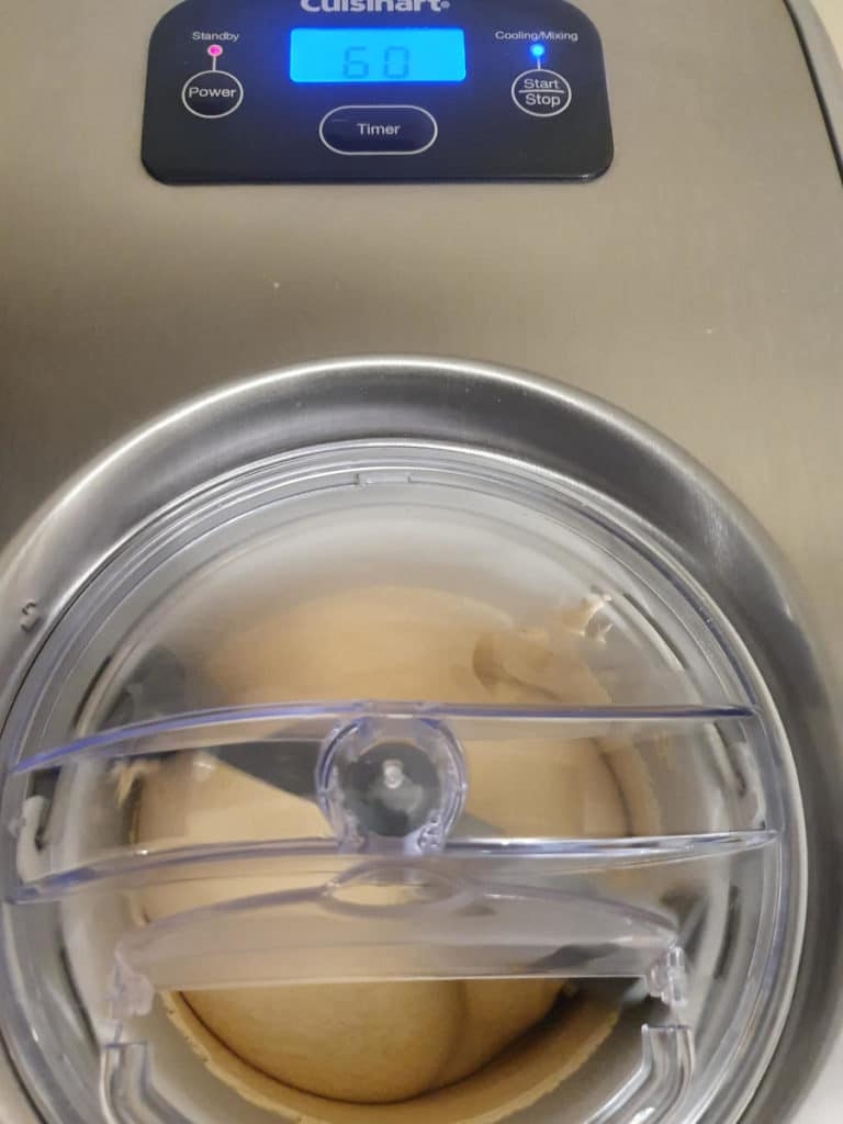Churning peanut butter ice cream