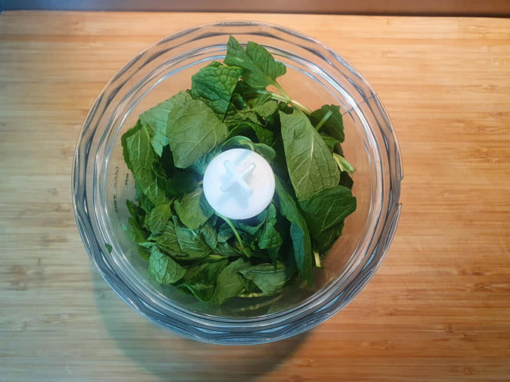 Mint in chopping bowl