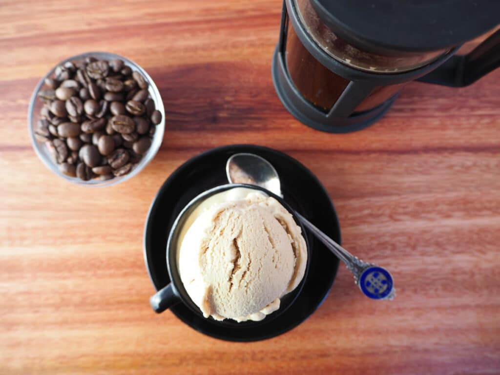 Top down no churn coffee ice cream with coffee and coffee pot