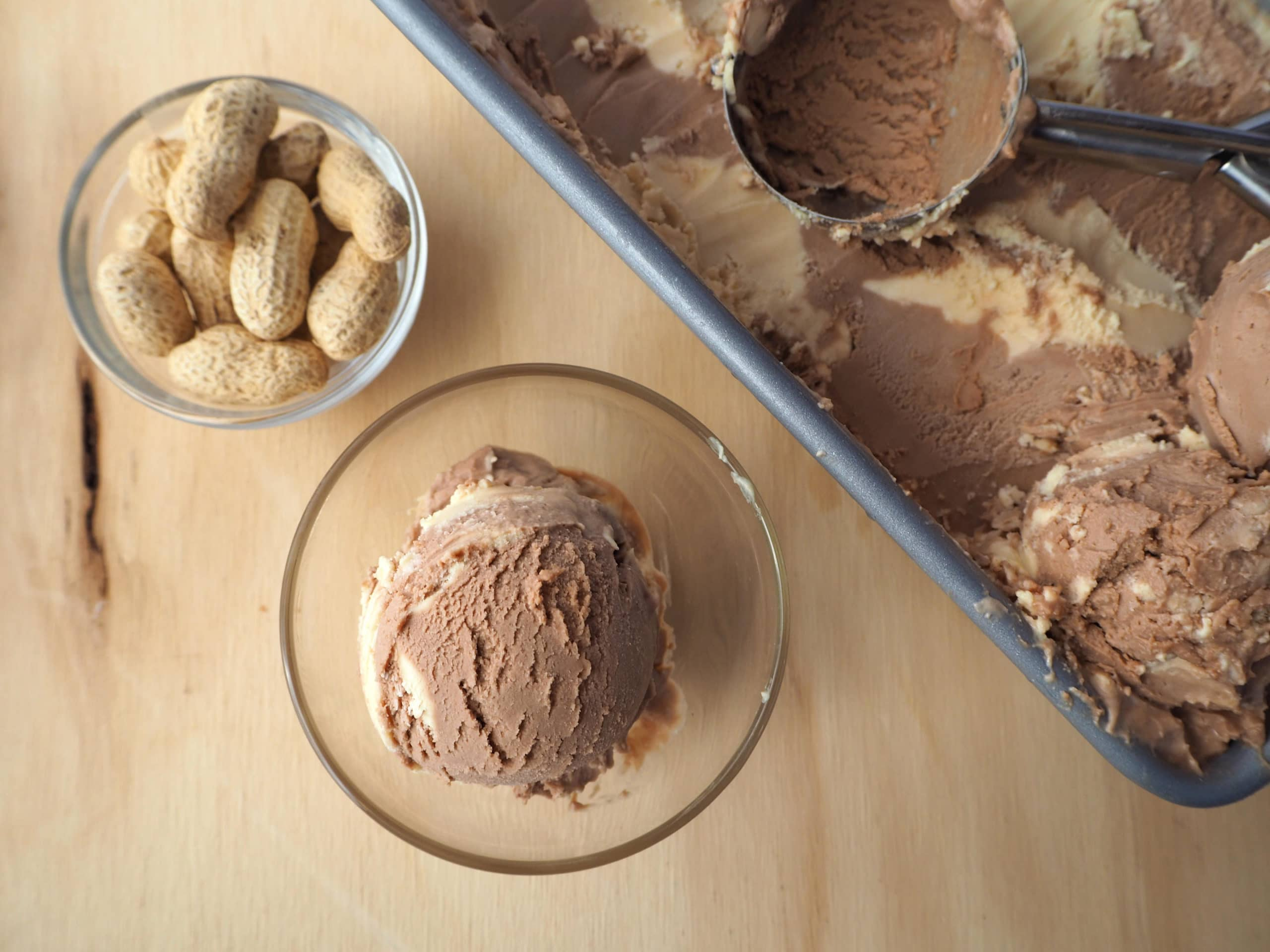 Nutella peanut butter ice cream with pan