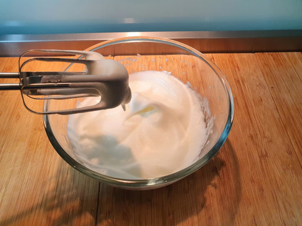 Whipped egg whites with soft peaks