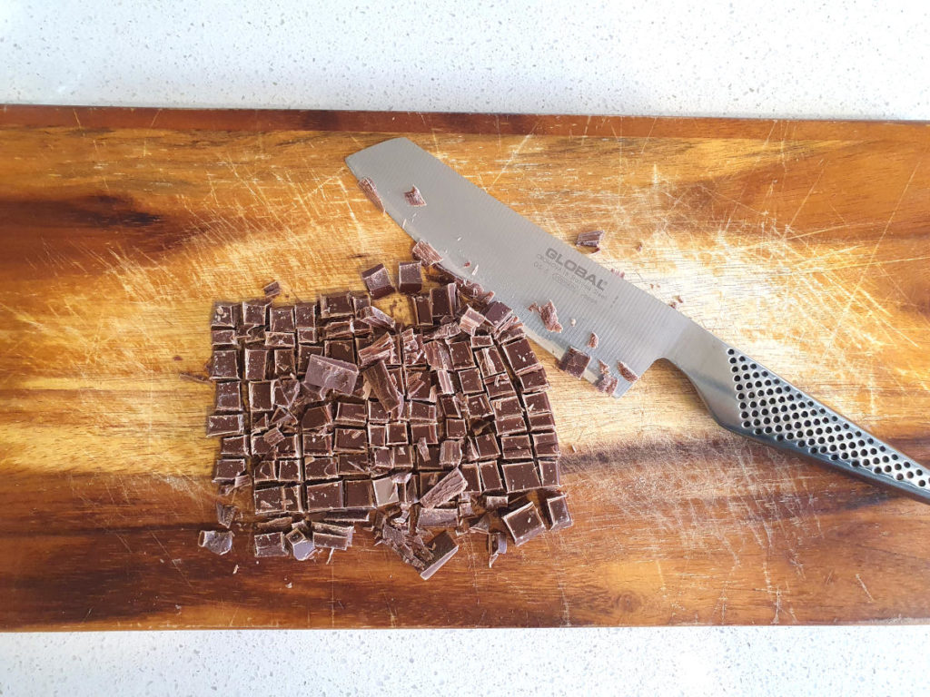 chopping up chocolate