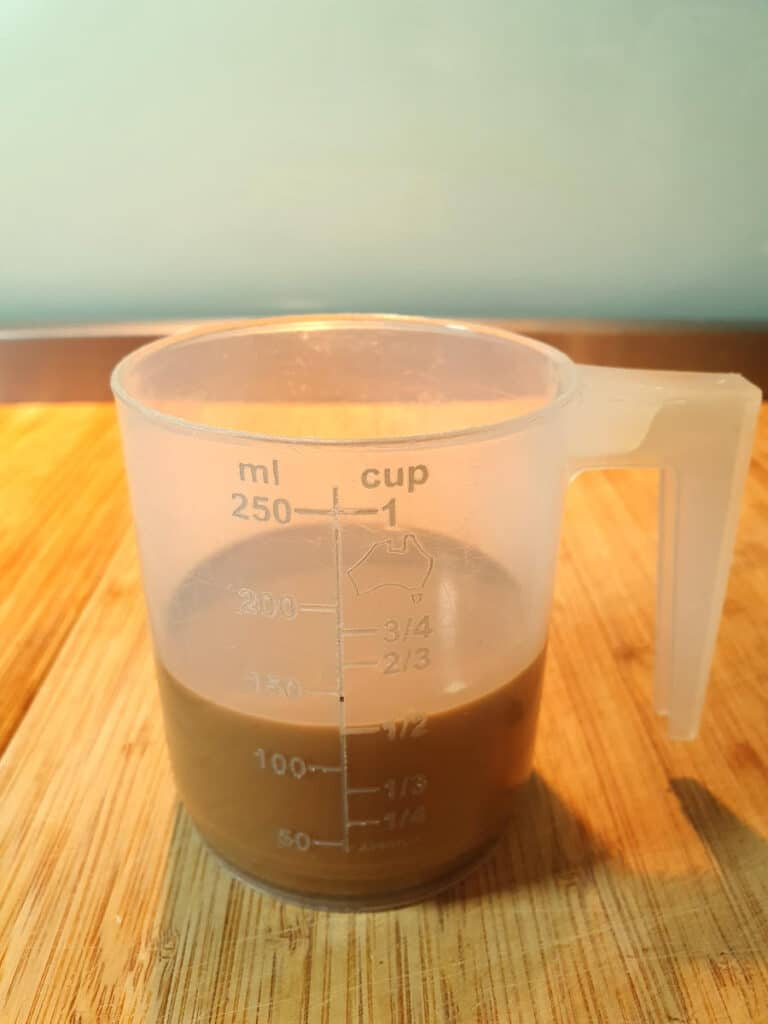 half a cup coffee milk mix