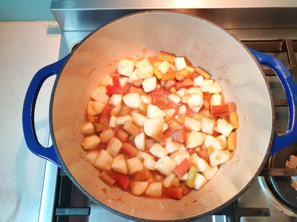 Fruit ready for cobbler topping