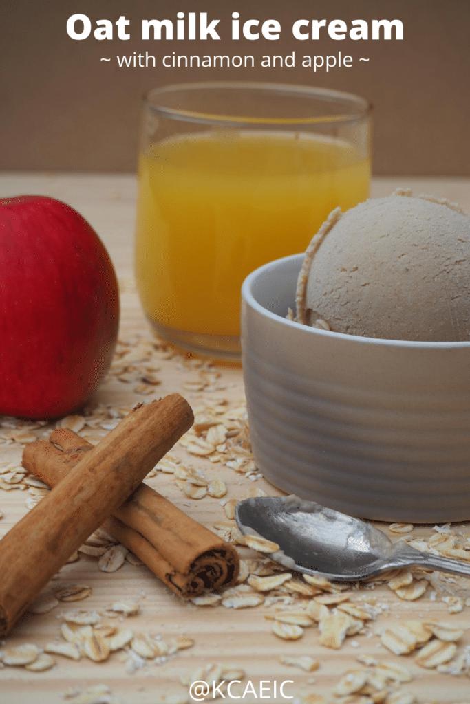 Oat milk ice cream with cinnamon and apple