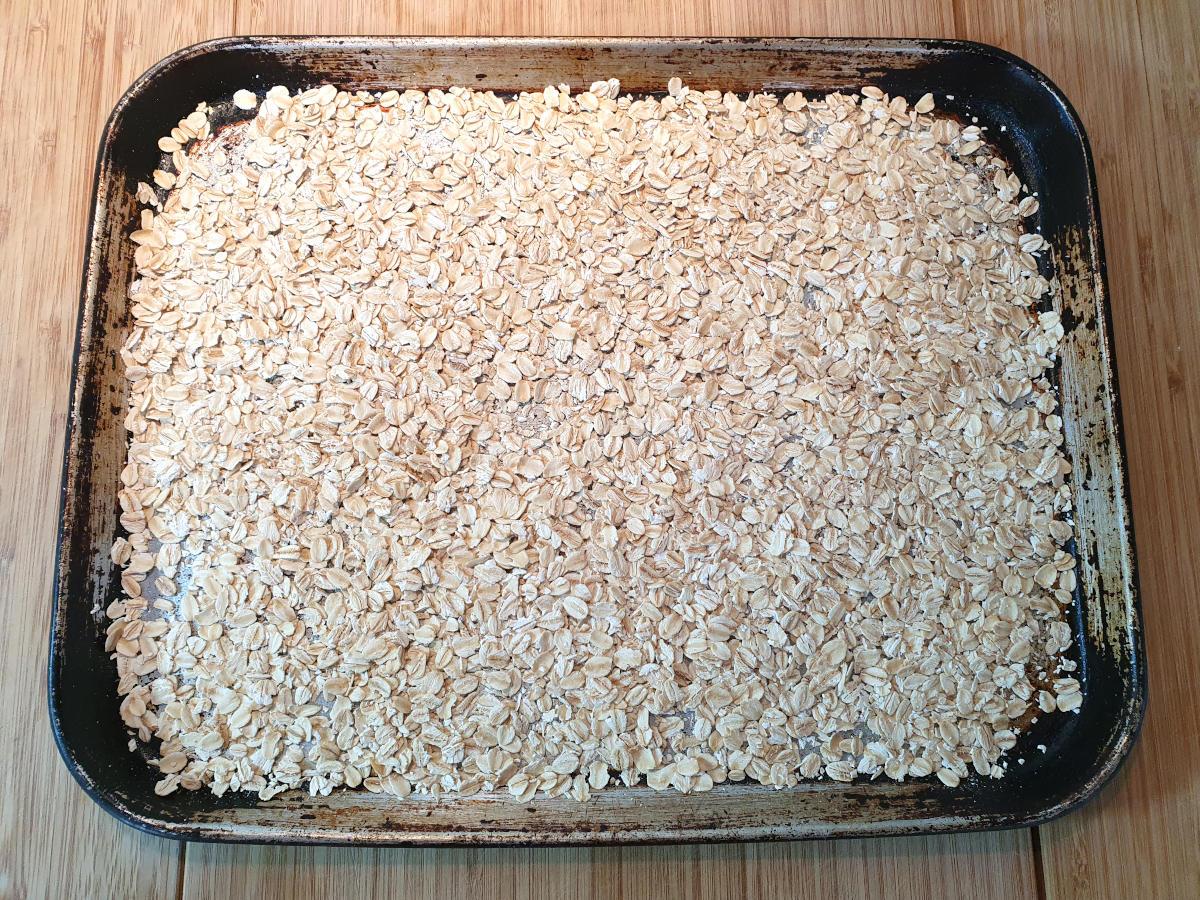 oats on tray ready to roast