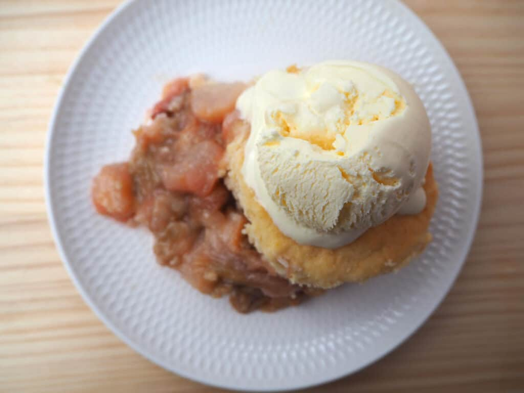 pear and rhubarb cobbler on plate