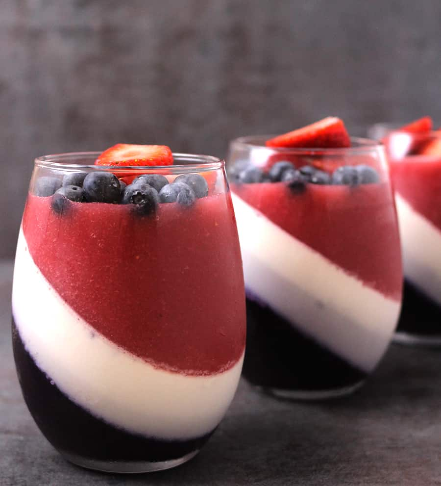 Strawberry and blueberry panna cotta