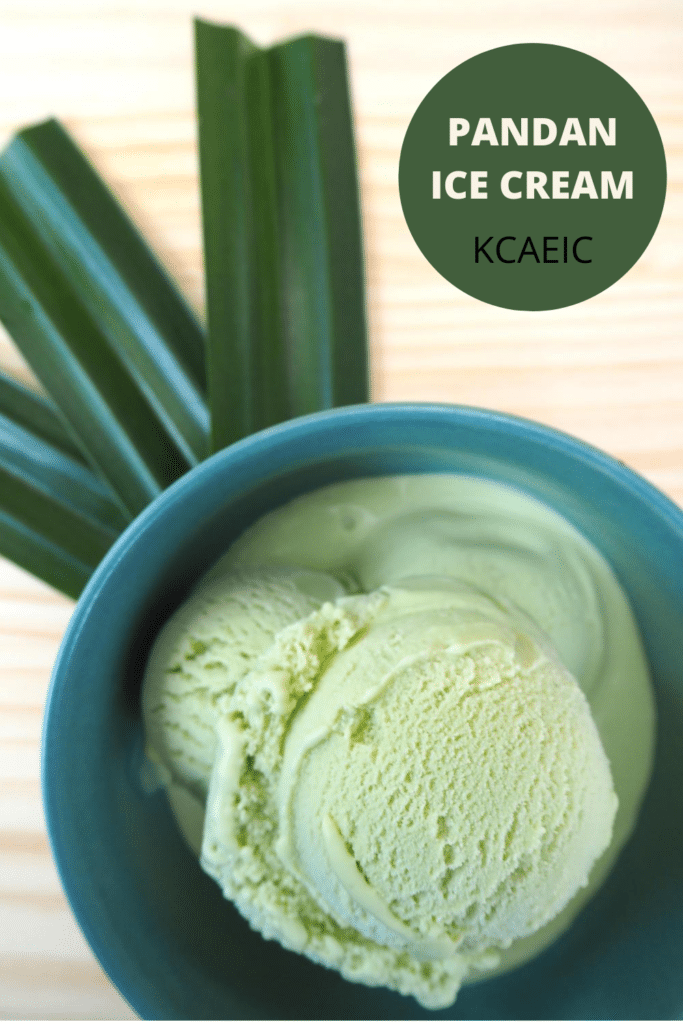 Pandan ice cream in green bowl on board with leaves