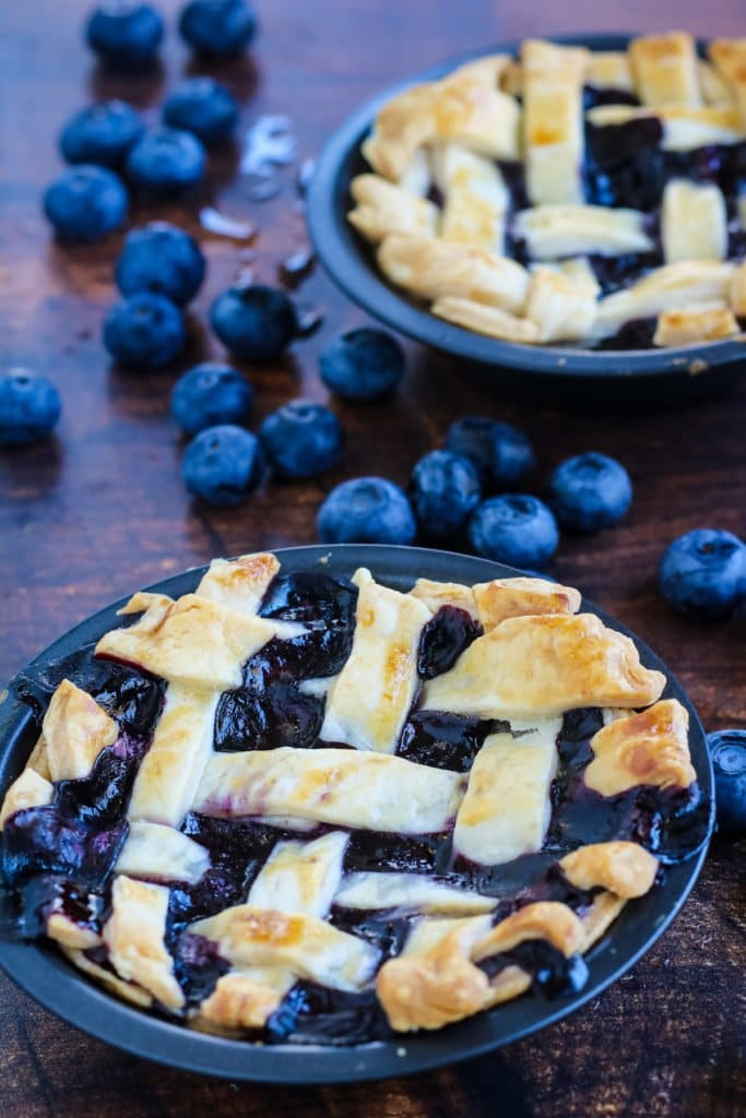 Easy mini blueberry pie for two