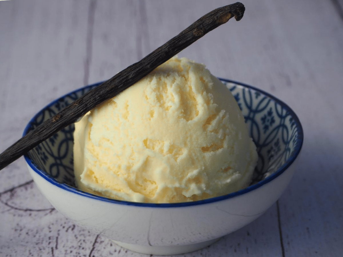 side view of single scoop of vanilla ice cream in shallow blue and white bowl, with a whole vanilla bean resting on the scoop on an angle, on a while wooden background.