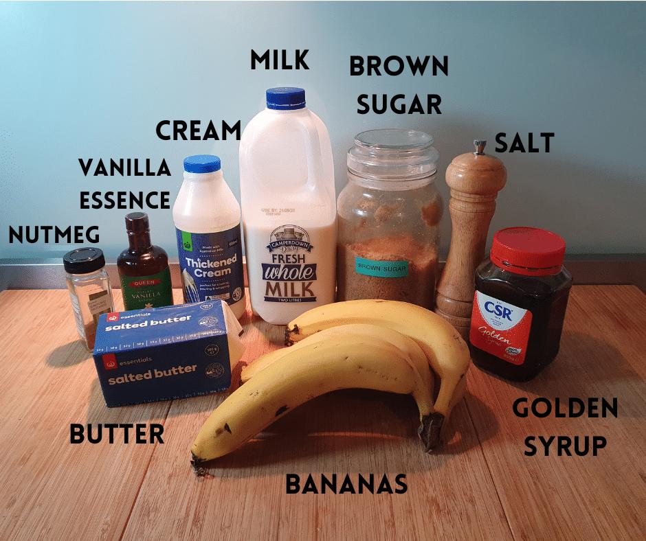 banana ice cream ingredients, nutmeg, vanilla essence, cream, milk, brown sugar, salt, golden syrup, butter, bananas.
