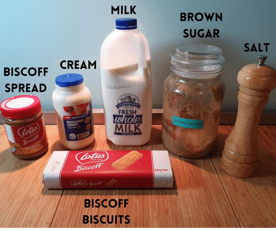 Biscoff ice cream ingredients, biscoff spread, cream, biscoff biscuits, milk, brown sugar, salt.