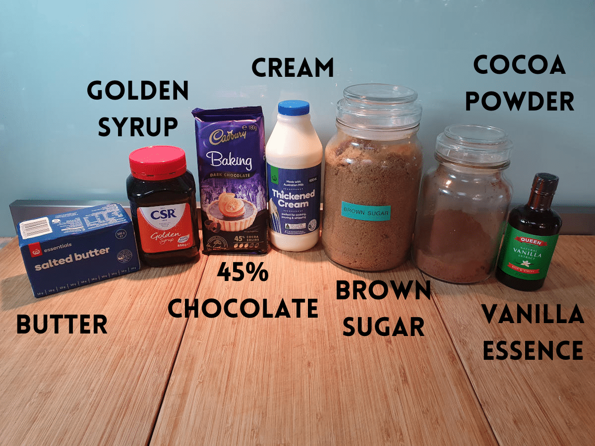 chocolate fudge sauce ingredients, butter, golden syrup, 45% semi sweet chocolate, thickened cream, brown sugar, cocoa powder, vanilla essence.