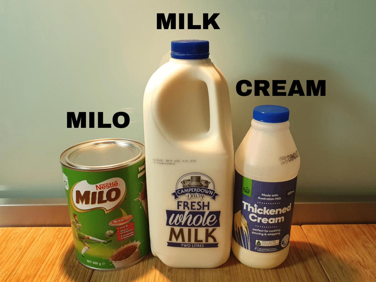Milo icy pole ingredients, milo, milk, cream