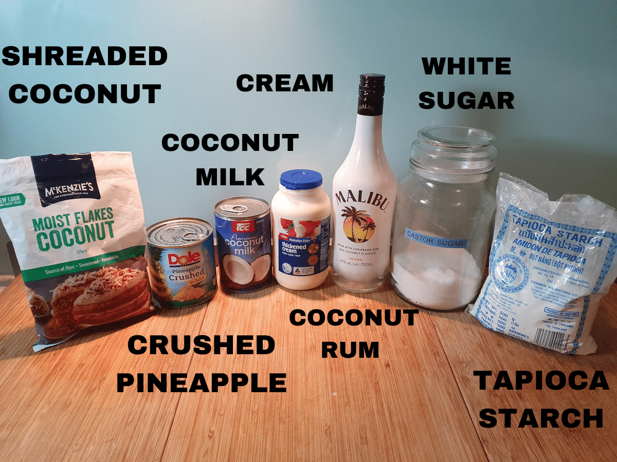 Pina colada ice cream ingredients, shredded coconut, tin crushed pineapple, coconut milk, cream, coconut rum, white sugar, tapioca starch.