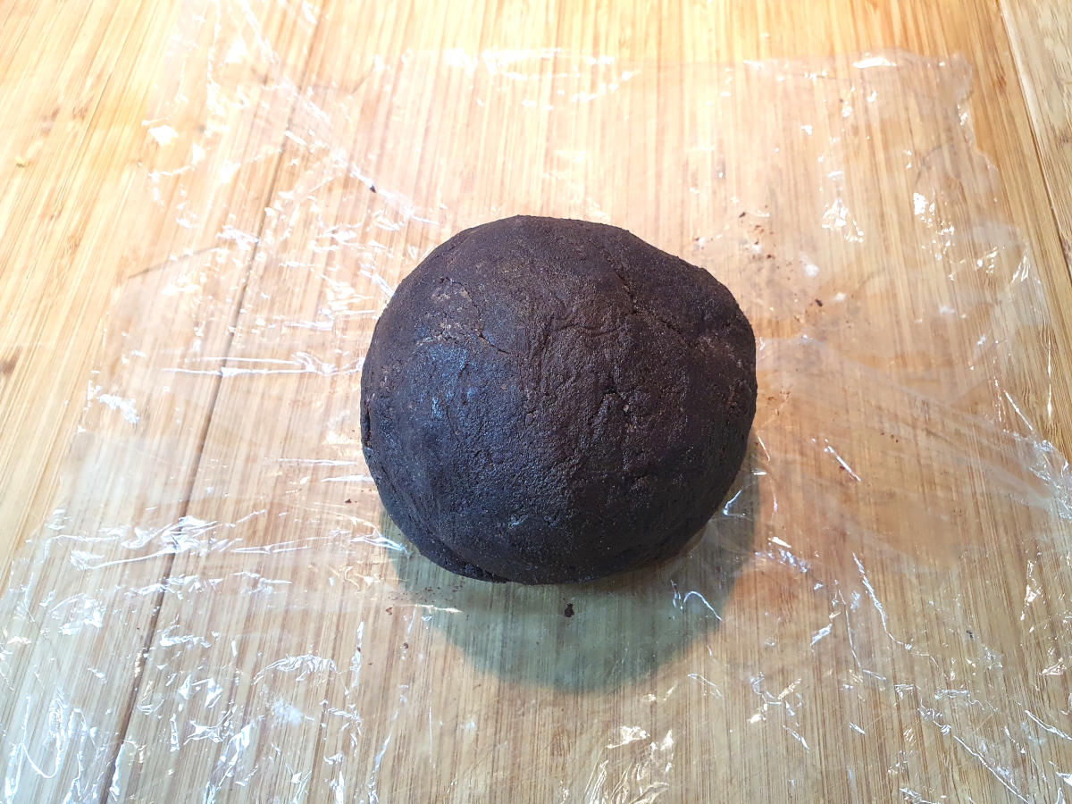 dough ball on cling film, ready to wrap and chill in the fridge.