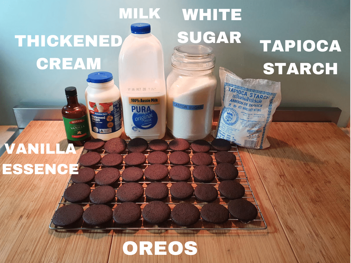 Cookies and cream ice cream ingredients, vanilla essence, thickened cream, milk, white sugar, tapioca starch, homemade oreos.