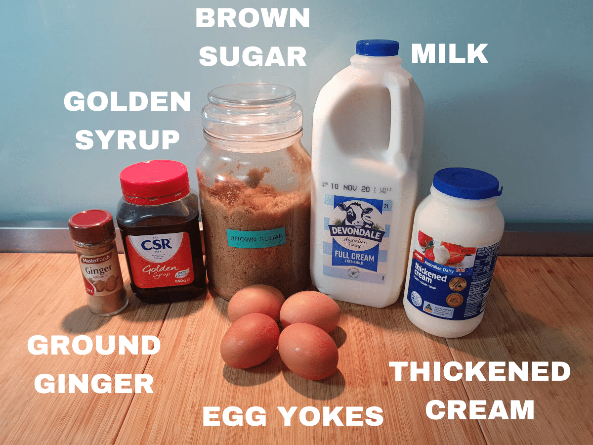 Gingerbread ice cream ingredients, ground ginger, golden syrup, brown sugar, egg yokes, milk, thickened cream.