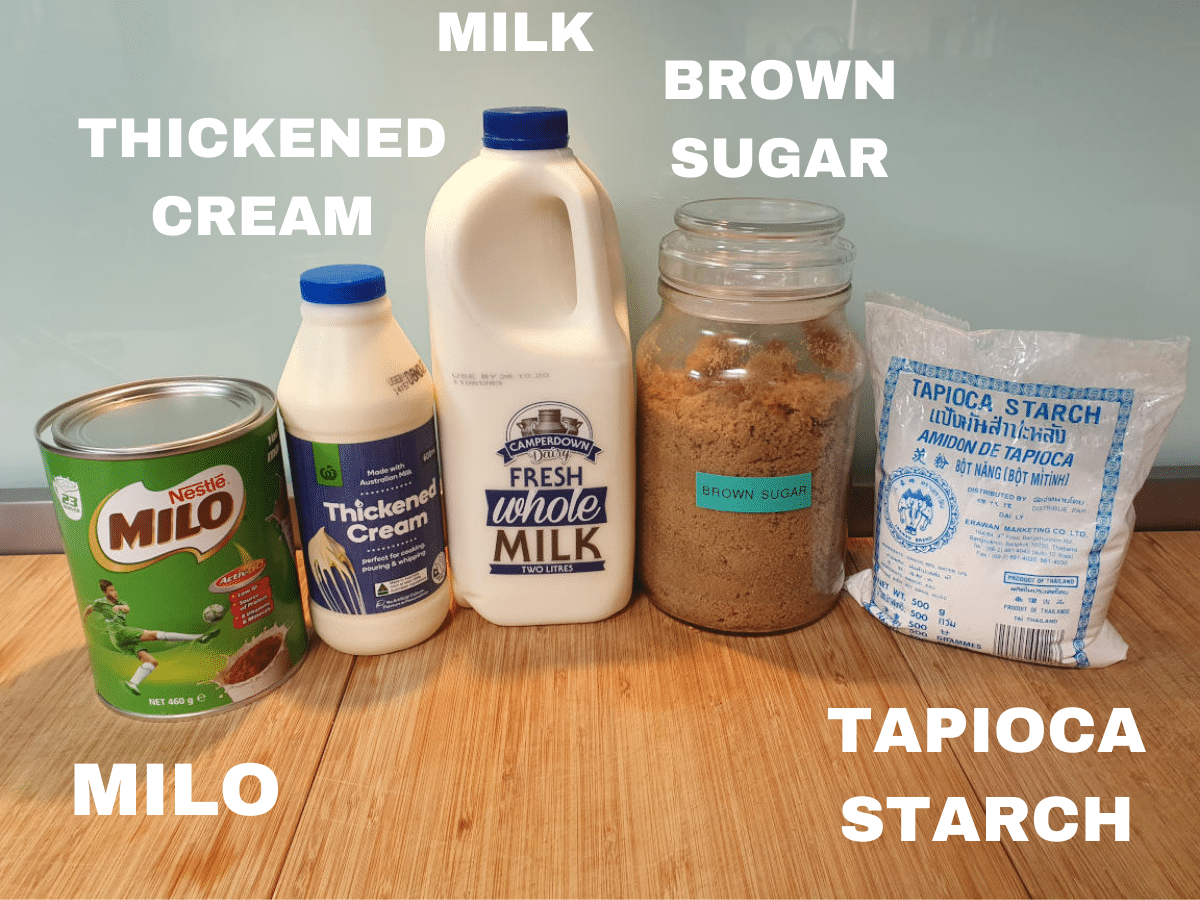 Milo ice cream ingredients, milo, thickened cream, milk, brown sugar, tapioca starch.