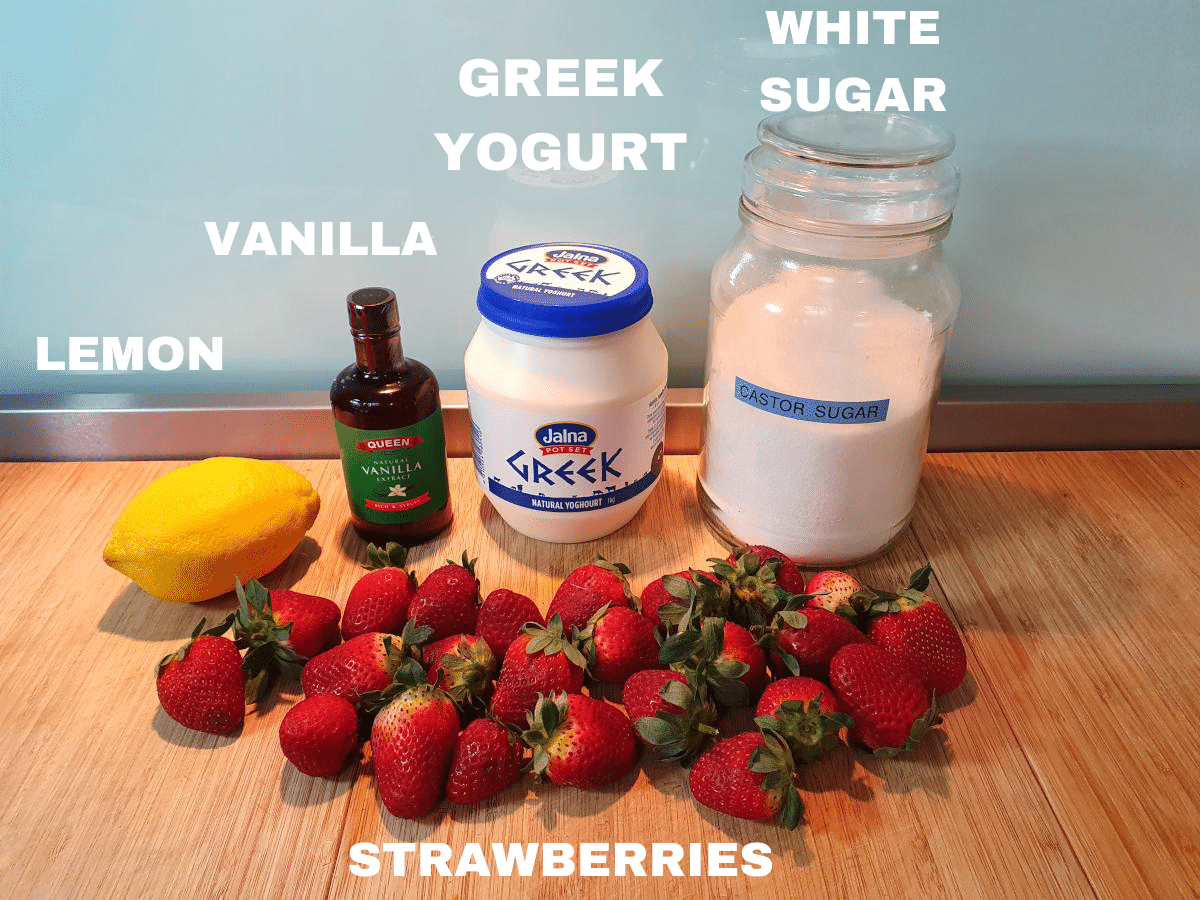 Strawberry yogurt popsicle ingredients, lemon, vanilla essence, Greek yogurt, white sugar, strawberries.