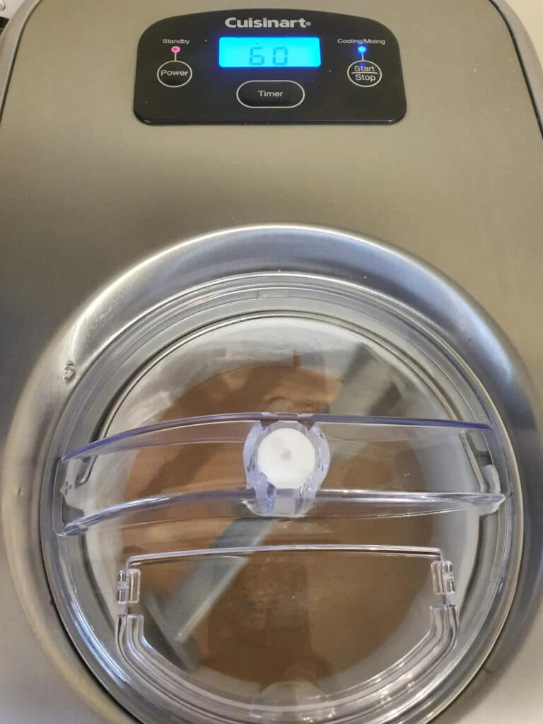top down view of ice cream churning in machine.