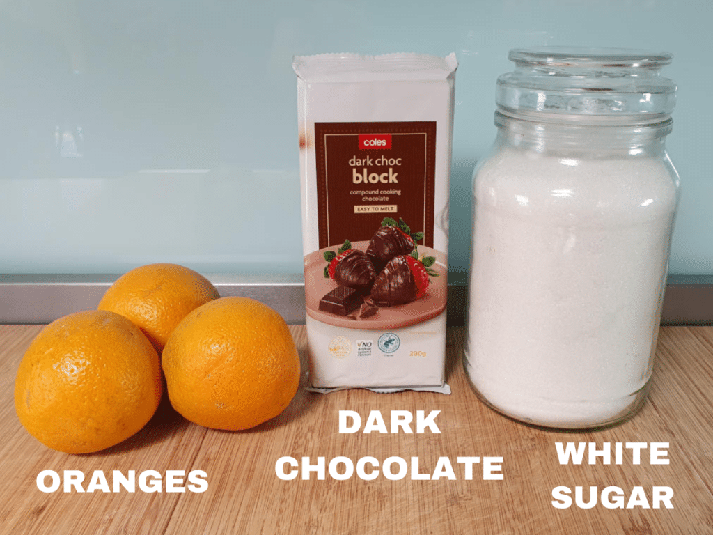 Chocolate coated orange peel ingredients, oranges, dark chocolate and white sugar.