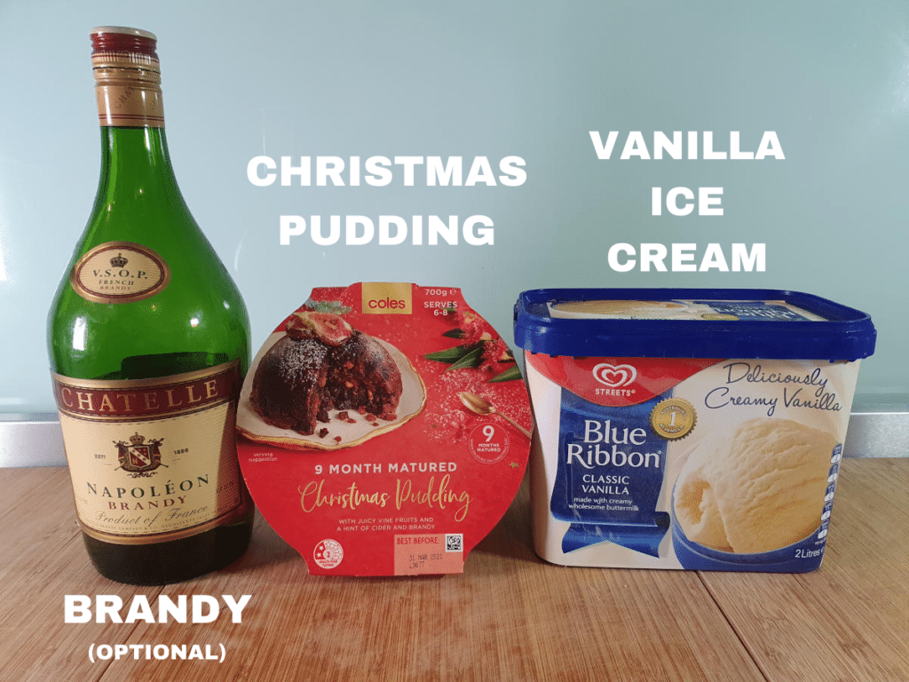 Christmas pudding ice cream ingredients, Christmas pudding, vanilla ice cream, optional brandy.
