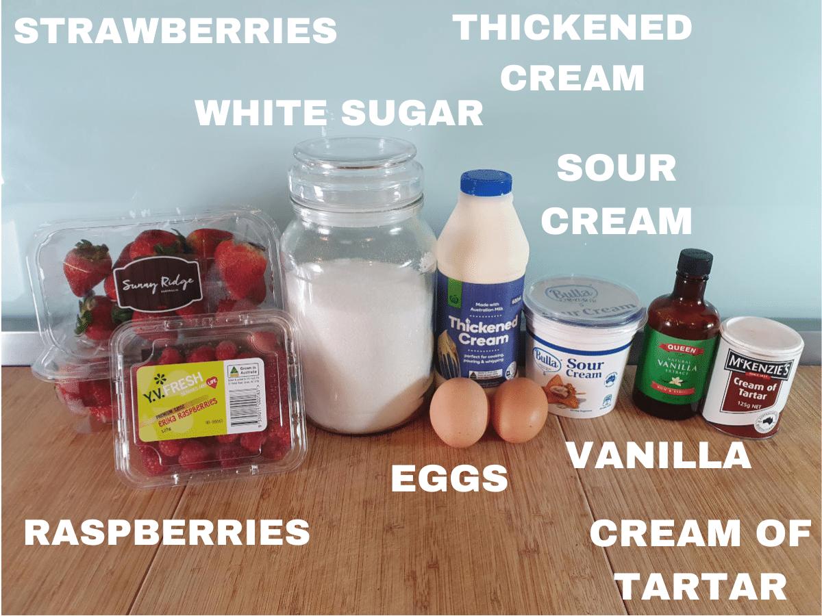 Eaton mess ingredients, strawberries, raspberries, white sugar, eggs, thickened cream, sour cream, vanilla essence, cream of tartar.