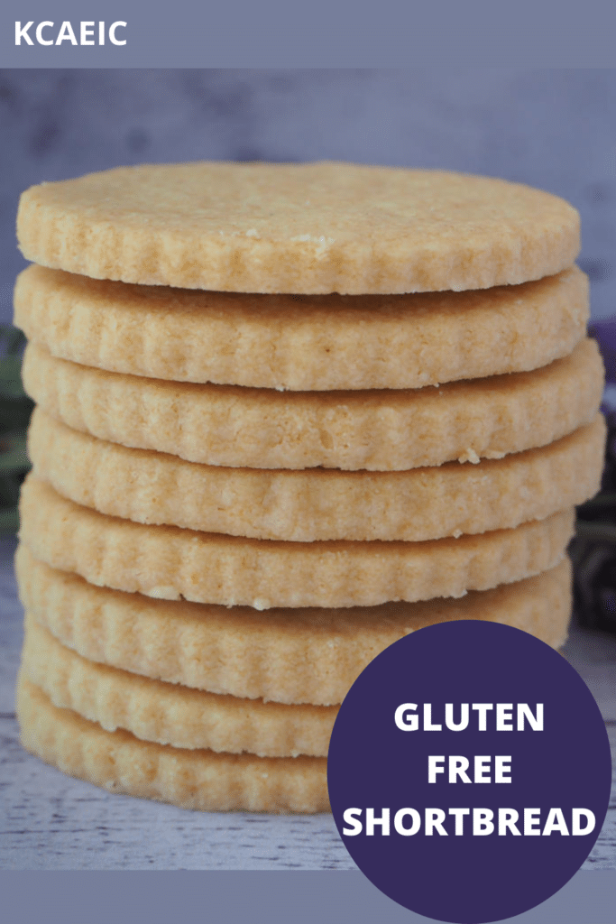 Close up side view of stack of gluten free short bread with text overlay, gluten free short bread and KCAEIC.