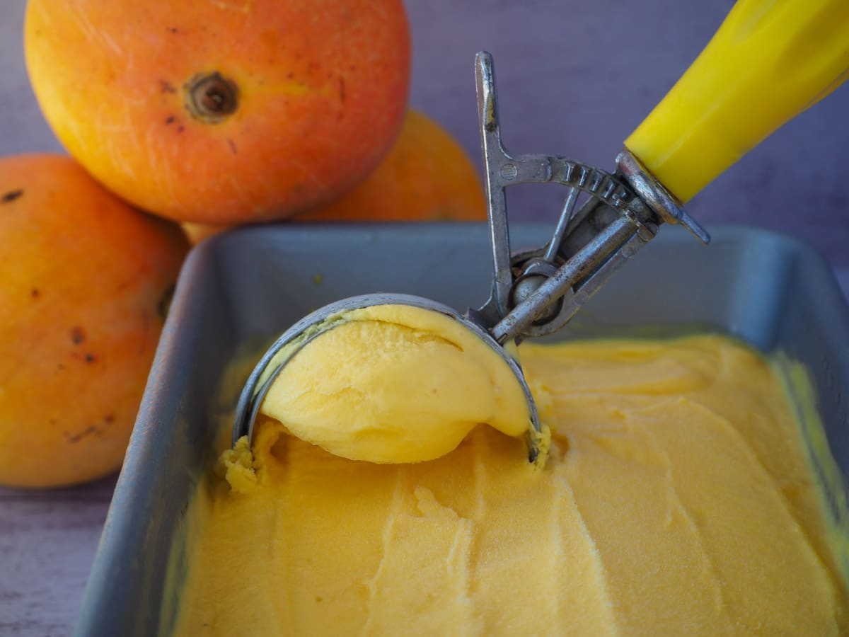 Scooping mango ice cream from a pan with a vintage ice cream scoop, with stacked mangos in the background.
