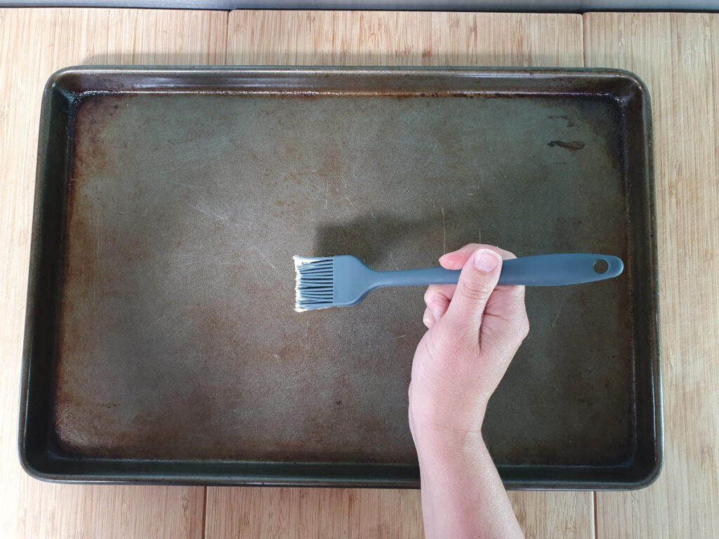 greasing baking trays