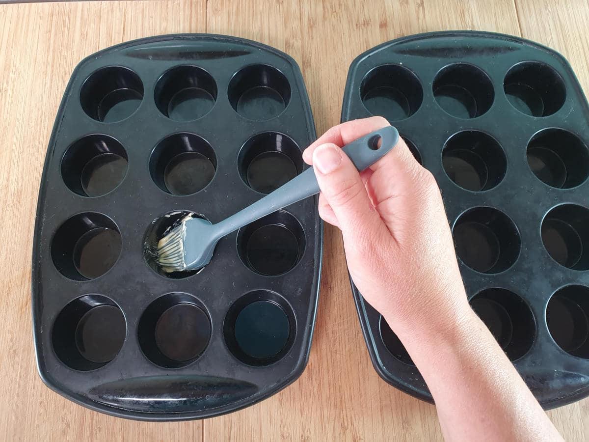 greasing mini muffin tins.